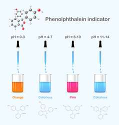 Phenolphthalein in solutions with different ph vector