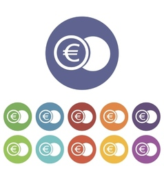 Euro coin flat icon vector
