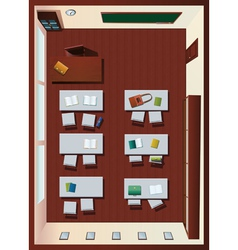 Detailed aerial view of classroom vector