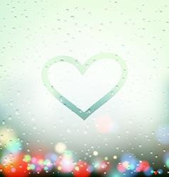 Painted heart on sweaty window vector