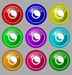 Moon icon sign symbol on nine round colourful vector