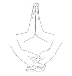 Hands folded in prayer vector