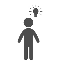 Man with idea lamp flat icon pictogram isolated on vector