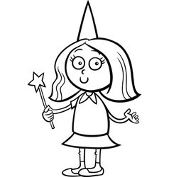 Girl in fairy costume coloring page vector