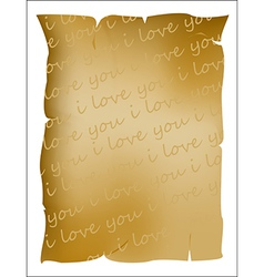 I love you text on parchment vector