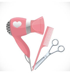 Pink hair dryer with concentrator scissors and vector