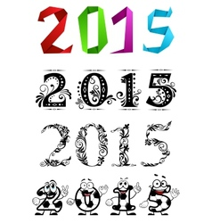 Artistic new year 2015 numbers and digits vector