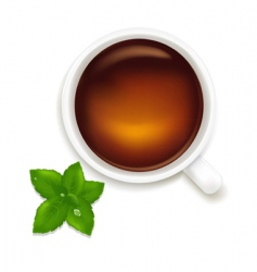 Cup of tea with mint vector
