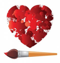Heart and paintbrush vector