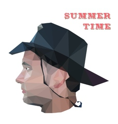 Profile of young man in origami style vector