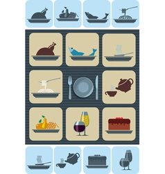 Food and beverages icons set vector