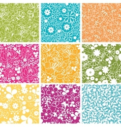 Set of nine spring flowers seamless patterns vector