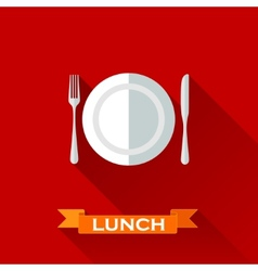 With a plate and cutlery in flat design style with vector