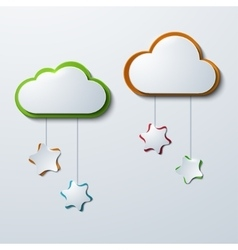 Modern clouds with stars vector
