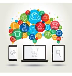 Online shopping modern technology vector