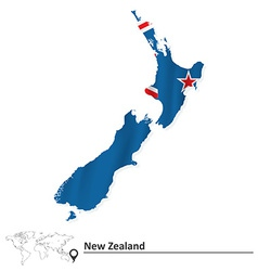Map of new zealand with flag vector