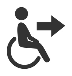 Disability man pictogram flat icon exit isolated vector