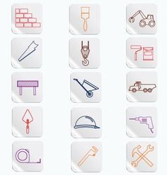 Construction button icons set vector
