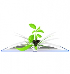 Book and plant background vector