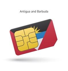 Antigua and barbuda phone sim card with flag vector