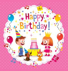 Happy birthday cute kids card vector