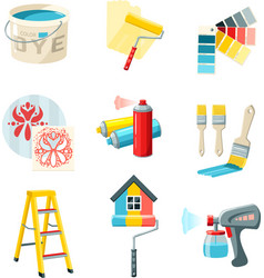 Painting work set vector
