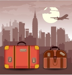 Suitcases for travel vector