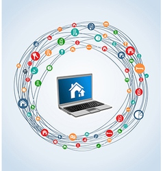 Real estate icon set laptop vector
