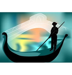 Gondolier in the evening city vector