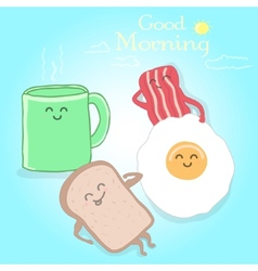Breakfast cute happy vector