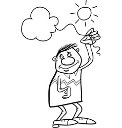 Man with cloud on string coloring page vector