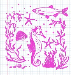 Sea life collection vector