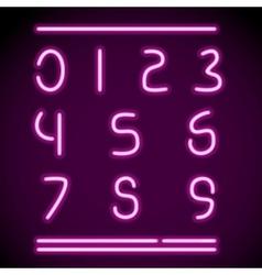 Realistic neon alphabet numbers vector