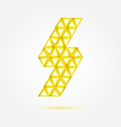 Flash lightning icon made with triangles - blue vector