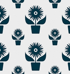 Flowers in pot icon sign seamless pattern with vector