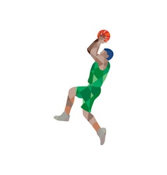 Basketball player jump shot ball low polygon vector
