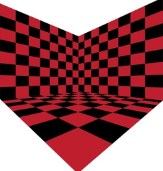 Corner of red checkered room vector