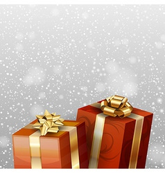 Christmas gifts with falling snow red vector