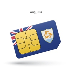 Anguilla mobile phone sim card with flag vector