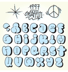 Graffiti bubble font vector