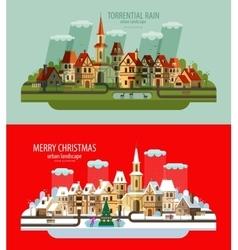 City landscape set of elements - house building vector