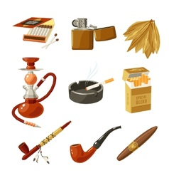 Tobacco icons set vector