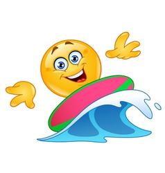 Surfing emoticon vector