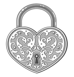 Heart shaped padlock in vintage engraved style vector