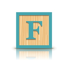 Letter f wooden alphabet block vector