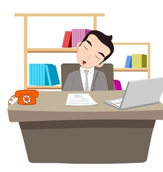 Businessman sleeping at work table over laptop vector