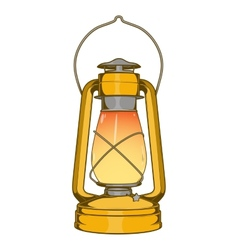 Antique brass old kerosene lamp vector