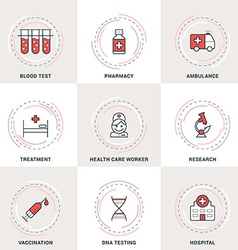 Modern medicine line icons set blood test vector