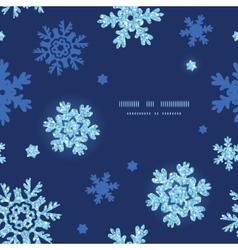 Glitter snowflakes dark circle frame seamless vector