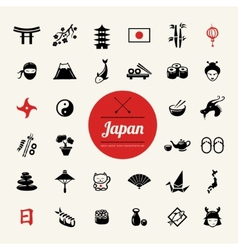 Set of flat design japanese icons vector
